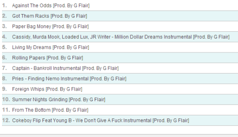 G Flair - Beats On Deck 2  tracklist